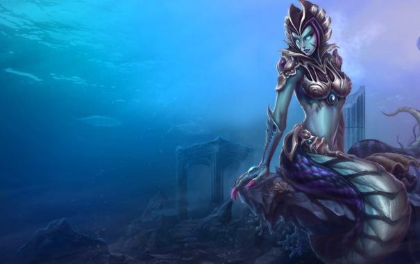 Фото обои рыбы, раковина, хвост, броня, руины, под водой, league of legends
