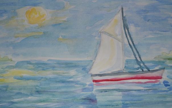 Фото обои парусник, тихо, солнце, акварель, рисунок, море
