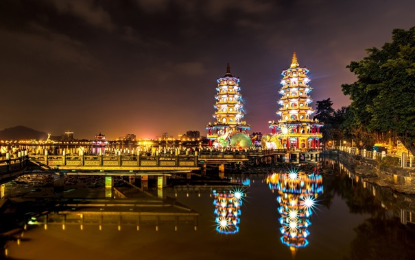 Фото обои ночь, город, огни, причал, подсветка, залив, Тайвань