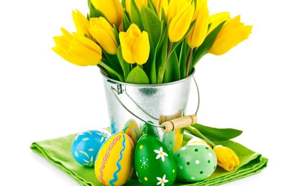 Фото обои цветы, яйца, букет, Пасха, тюльпаны, желтые тюльпаны