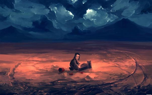 Фото обои мальчик, песочный замок, ведёрко, совок, облака, арт