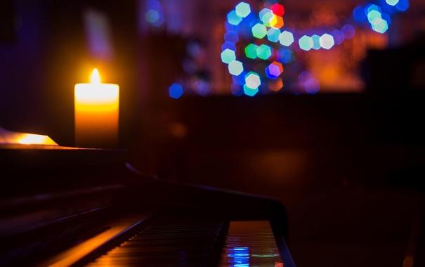 Фото обои музыка, свеча, пианино