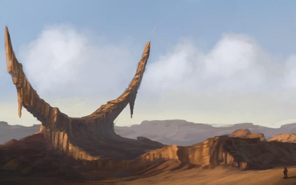 Фото обои облака, пейзаж, фантастика, скалы, человек, арт, полумесяц