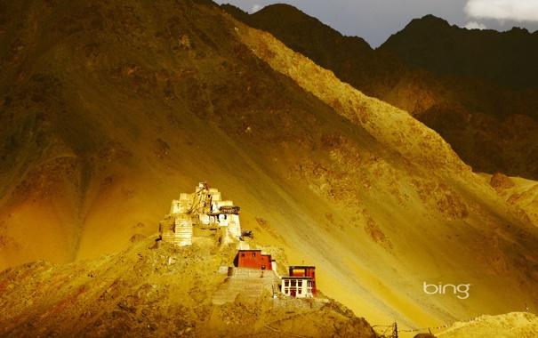 Фото обои небо, свет, закат, горы, природа, дом, вечер