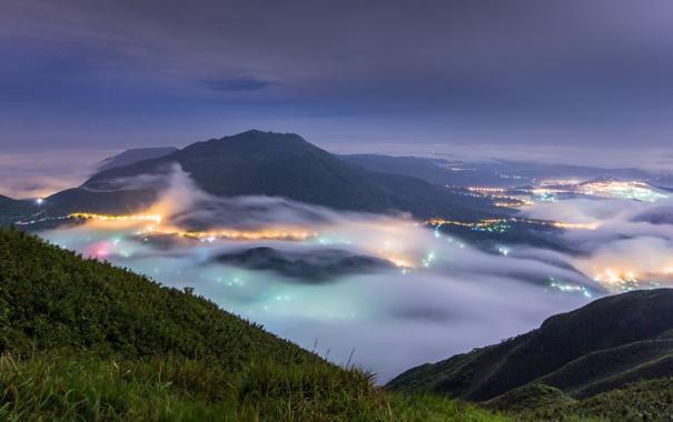Фото обои горы, город, огни, туман, Тайвань, Тайбэй