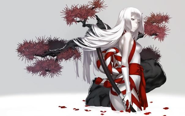 Фото обои взгляд, вода, девушка, оружие, дерево, меч, лепестки