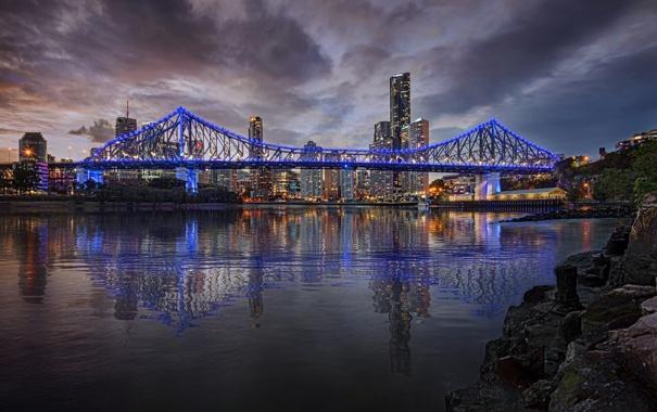 Фото обои Квинсленд, река, ночь, Австралия, огни, Story-bridge, подсветка