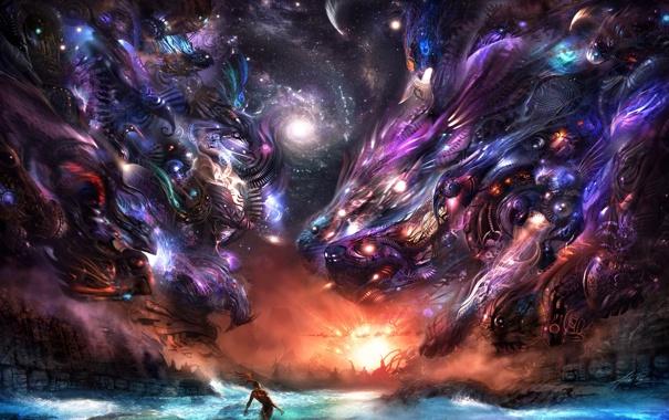 Фото обои животные, вода, звезды, свет, портал, галактика, мужчина