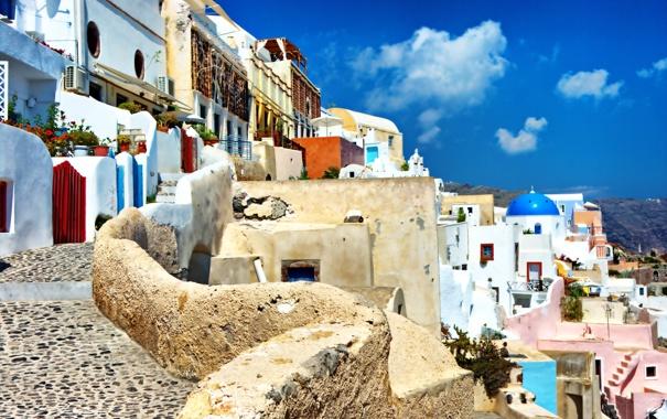Фото обои природа, город, камни, дома, брусчатка, Санторини, Греция