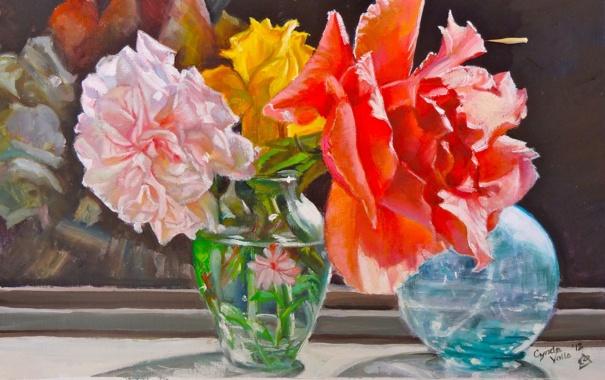 Фото обои солнце, цветы, розы, букет, окно, арт, ваза