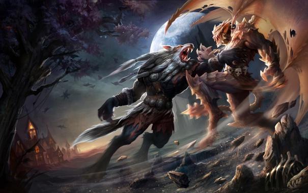 Фото обои ночь, дерево, луна, крылья, арт, вампир, битва