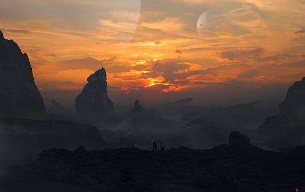 Фото обои небо, закат, горы, люди, планеты, арт