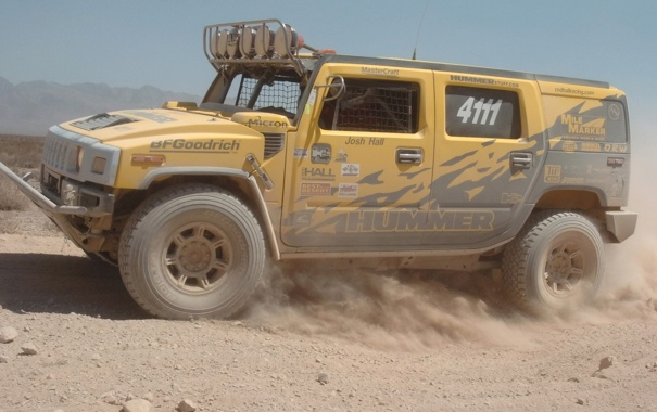 Фото обои Пустыня, Hummer, Ралли
