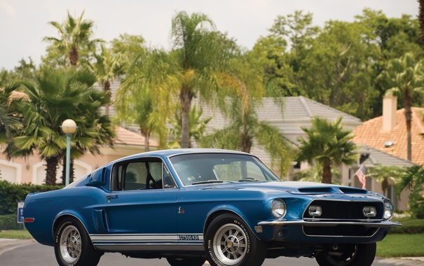 Фото обои Ford, Mustang, 1968 год, shelby, gt500