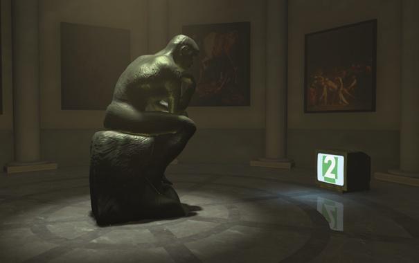 Фото обои грусть, одиночество, телевизор, Скульптура, музей