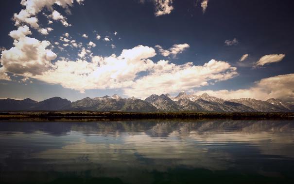 Фото обои небо, вода, горы, фото, холмы, обои, пейзажи