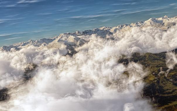 Фото обои небо, облака, горы, арт, вид сверху, гряда
