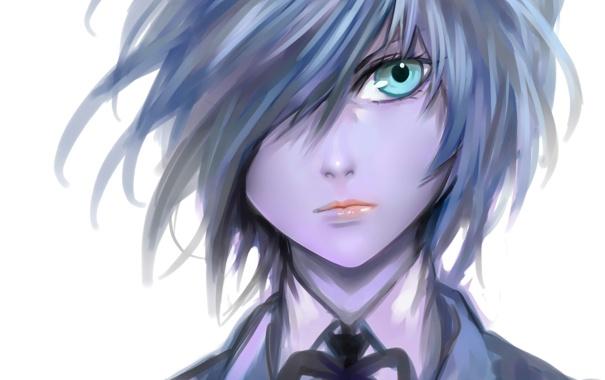 Фото обои лицо, волосы, аниме, парень, синие