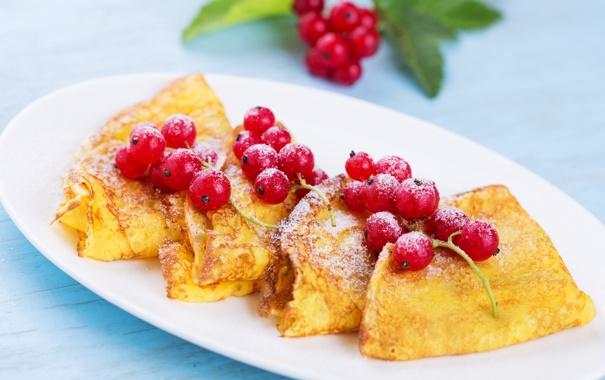 Фото обои красная, смородина, еда, блинчики, ягоды, блины
