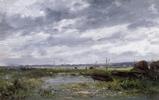 Фото обои пейзаж, природа, картина, Карлос де Хаэс, Болота
