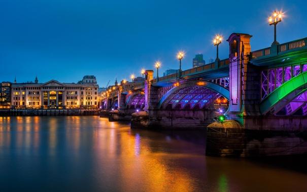 Фото обои ночь, мост, река, Англия, Лондон, вечер, освещение