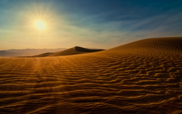 Фото обои песок, пейзаж, закат, пустыня, солнце, дюны