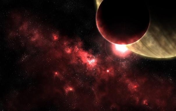 Фото обои космос, свет, туманность, планета, спутник, звёзды, алый цвет