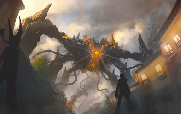 Фото обои пламя, дым, здания, краб, монстр, нападение, щюпальца