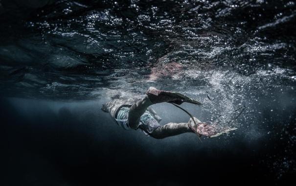 Фото обои вода, океан, глубина, подводная сьемка, плавец, ласта