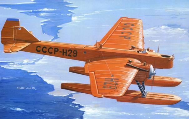 Фото обои вода, рисунок, арт, льды, самолёт, шасси, советский