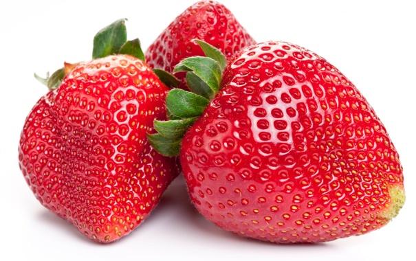 Фото обои крупный план, еда, клубника, ягода, белый фон