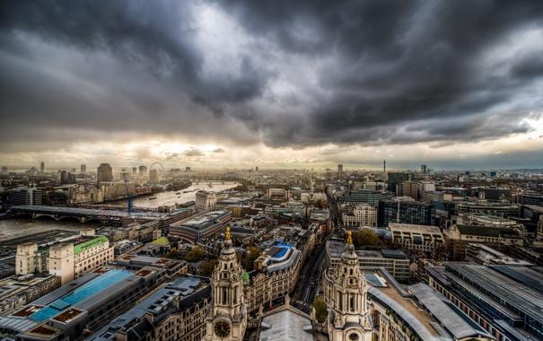 Фото обои небо, тучи, город, Лондон