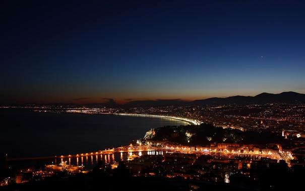 Фото обои ночь, город, Италия, залив, Меркурий, Венера