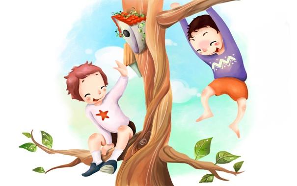 Фото обои ветки, дети, дерево, листва, рисунок, скворечник, веселье
