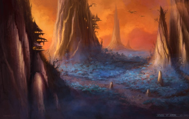 Фото обои арт, World of Warcraft, concept art, Острогорье, Spires of Arrak