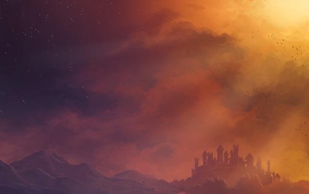 Фото обои небо, звезды, горы, птицы, замок, Chromamancer