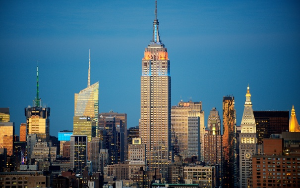 Фото обои небо, небоскреб, дома, Нью-Йорк, вечер, США