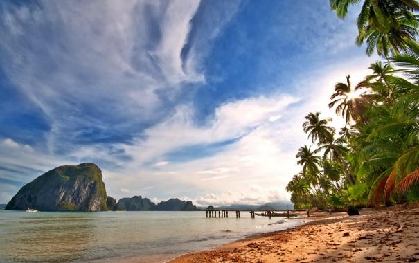 Фото обои песок, море, пляж, тропики, пальмы, берег, summer