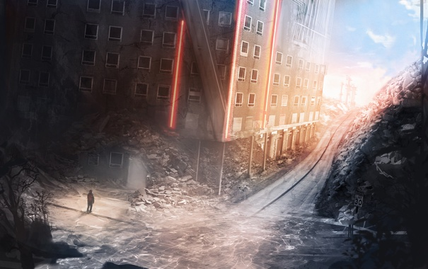 Фото обои дорога, город, улица, апокалипсис, здание, человек