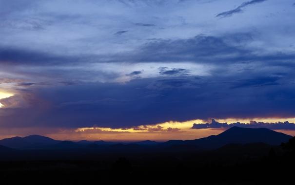 Фото обои небо, облака, горы, панорама