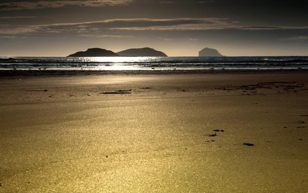 Фото обои песок, море, пляж, пейзаж, закат, природа