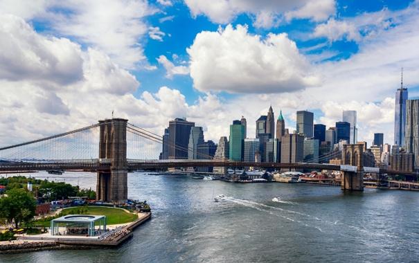 Фото обои США, облака, пейзаж, Нью-Йорк, побережье, залив, мост