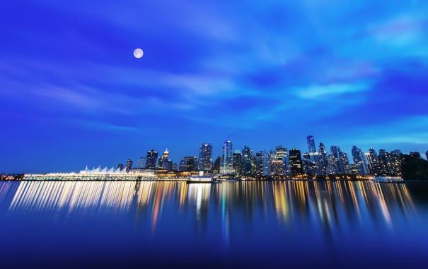 Фото обои ночь, город, небоскребы, Stanley Park, Downtown Vancouver