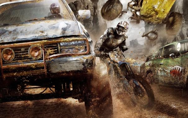 Фото обои машина, гонка, грязь, мотоцикл, Apocalypse, Motorstorm