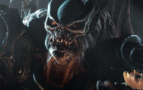 Фото обои взгляд, девушка, лицо, камень, зубы, чудовище
