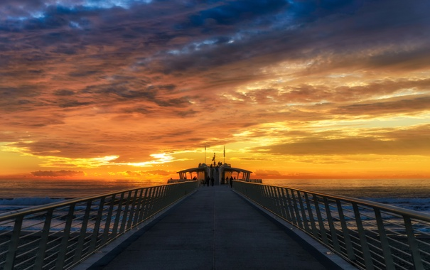 Фото обои ocean, sunset, cloud, pier