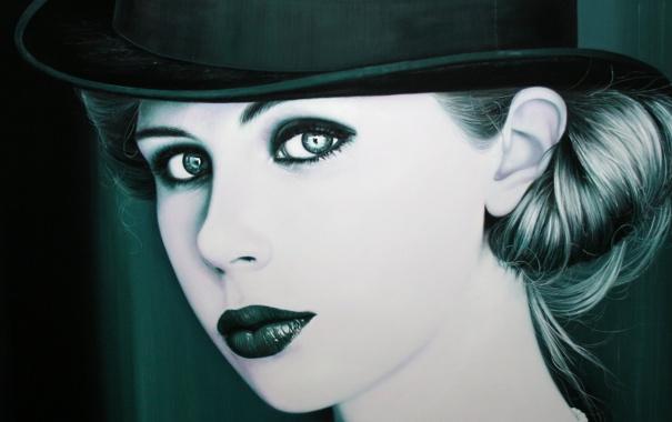 Фото обои женщина, Портрет, шляпка, монохромный