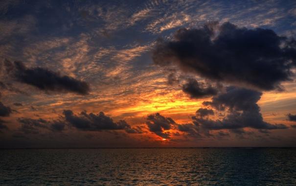 Фото обои море, небо, цвета, солнце, пейзаж, закат, природа