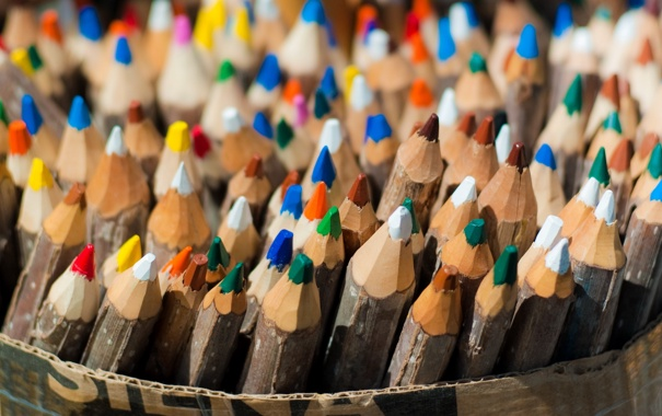 Фото обои макро, цвет, карандаши