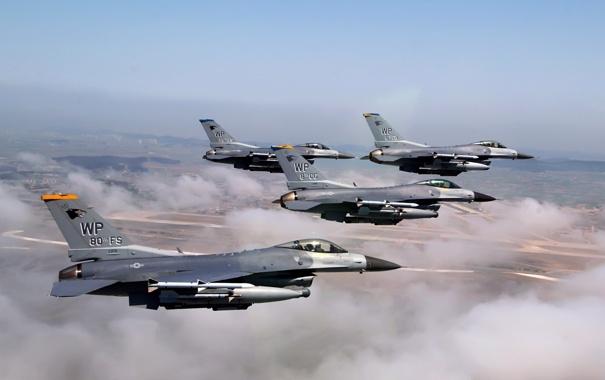 Фото обои полет, земля, самолеты, F-16